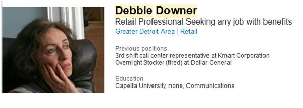 linkedin profile  debbie downer  u2013 performancemarketingjobs com